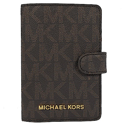 MICHAEL KORS JET SET經典PVC護照夾(深咖)