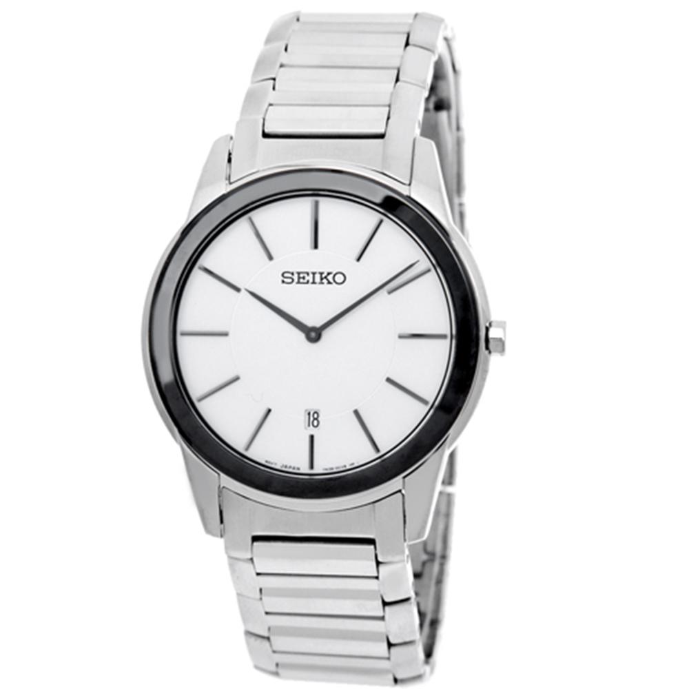 SEIKO 都會紳士石英腕錶(SKP377P1)-白x黑框/38mm