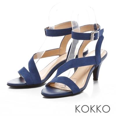 KOKKO真皮手工優雅女伶線條繫帶高跟涼鞋藍