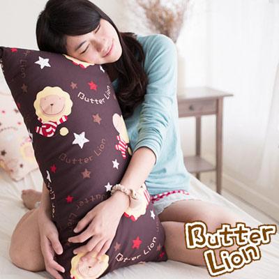 【奶油獅】正版授權 台灣製造-搖滾星星可拆洗長型抱枕-咖啡(一入)