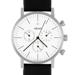 a.b.art OC 包浩斯極簡三眼計時碼錶-白/40.5mm