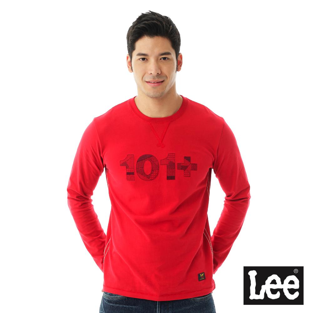 Lee 101+百搭耐看圓領長袖T恤-男款-紅色
