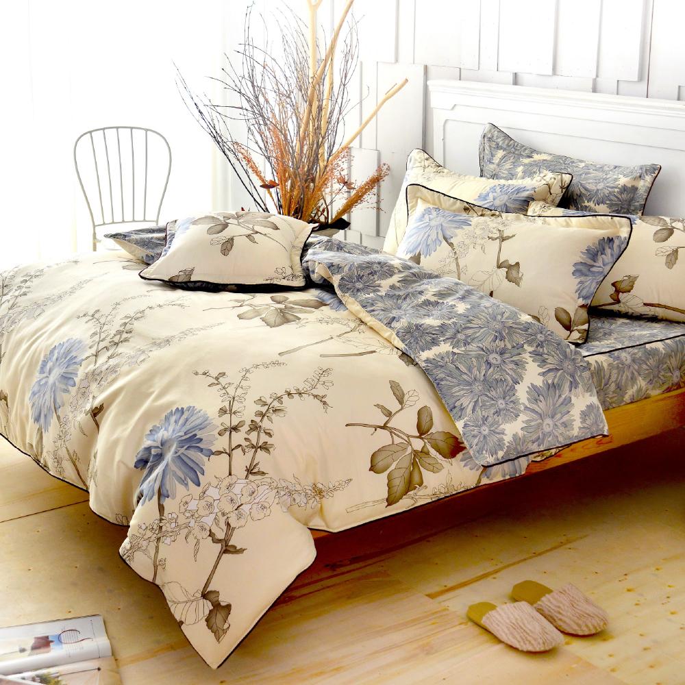 Grace Life  浪漫花妍 精梳純棉加大全鋪棉床包兩用被四件組