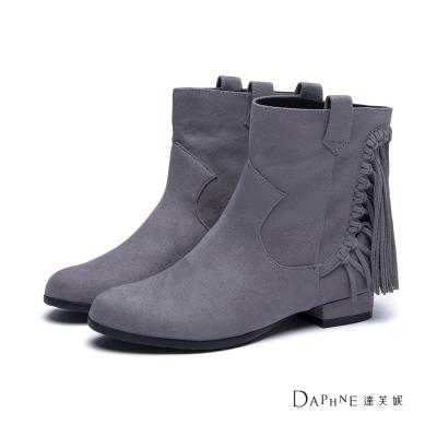達芙妮DAPHNE-短靴-絨布流蘇牛仔短靴-灰