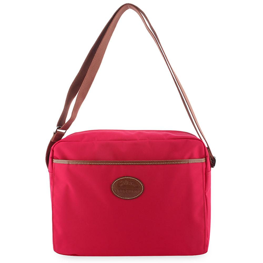 Longchamp Le Pliage多功能尼龍旅行斜背包-玫瑰紅