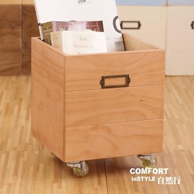 CiS自然行實木家具 收納箱-玩具箱-檔案夾收納-附輪(柚木色)