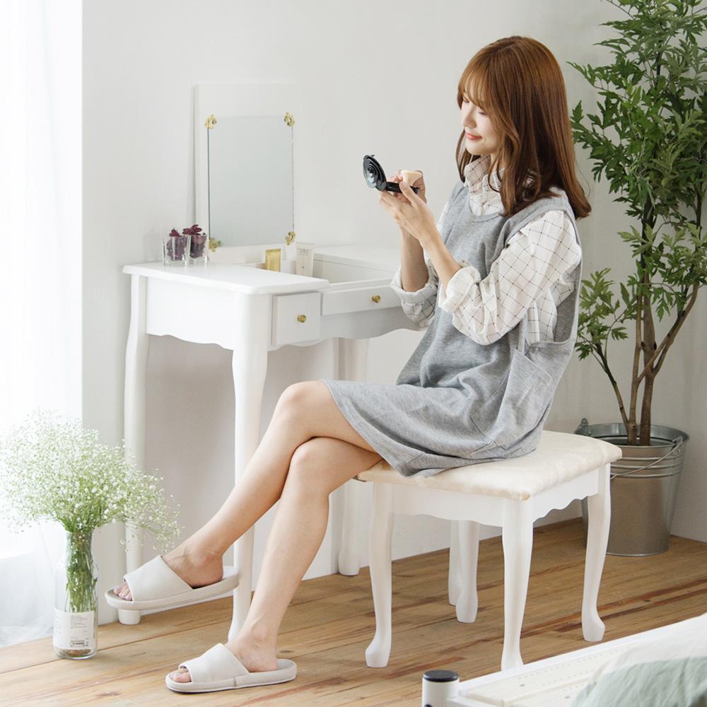 完美主義 公主風化妝桌椅組/掀鏡/化妝椅-74X40X75