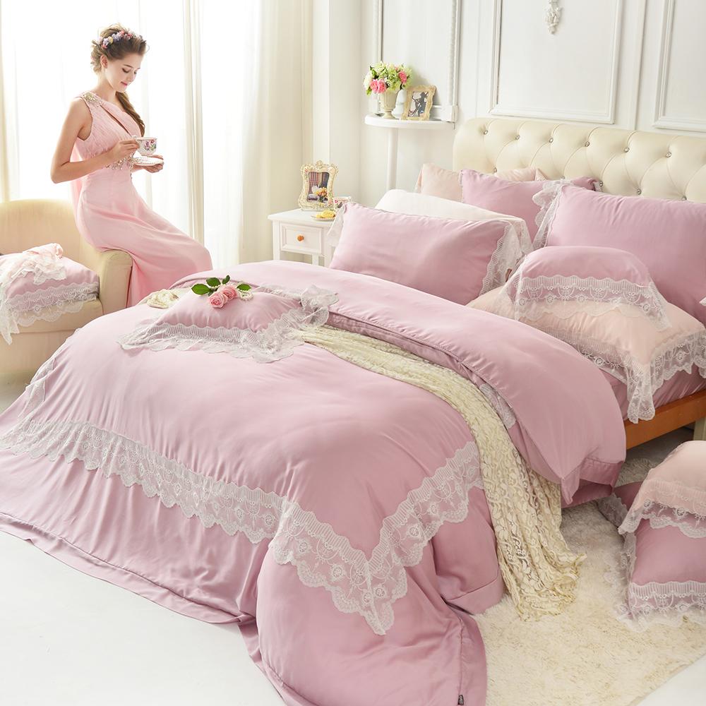 義大利La Belle 愛琴維納斯 特大天絲蕾絲四件式防蹣抗菌舖棉兩用被床包組