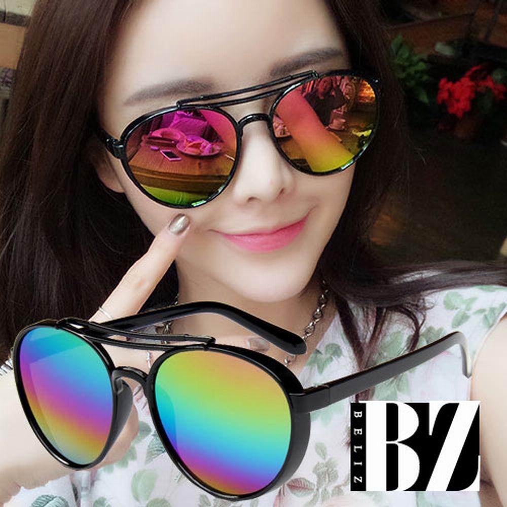 BeLiz 時尚反射 雙線黑圓框墨鏡 彩虹