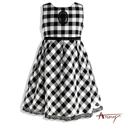 格紋印花圖案蕾絲裙襬洋裝*4234黑