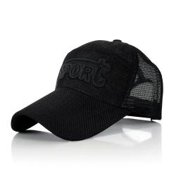 幸福揚邑 防曬透氣速乾夏季時尚百搭戶外運動亞麻網帽遮陽帽棒球帽-黑色
