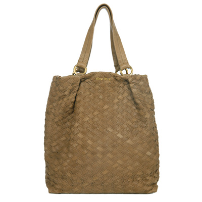 MIU MIU 長型編織托特手提包(淺咖啡色)