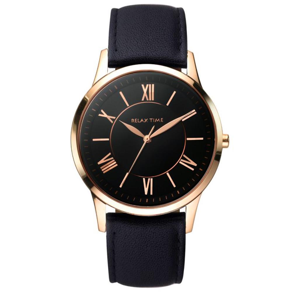 RELAX TIME RT58 經典學院風格手錶-黑x玫塊金框/42mm