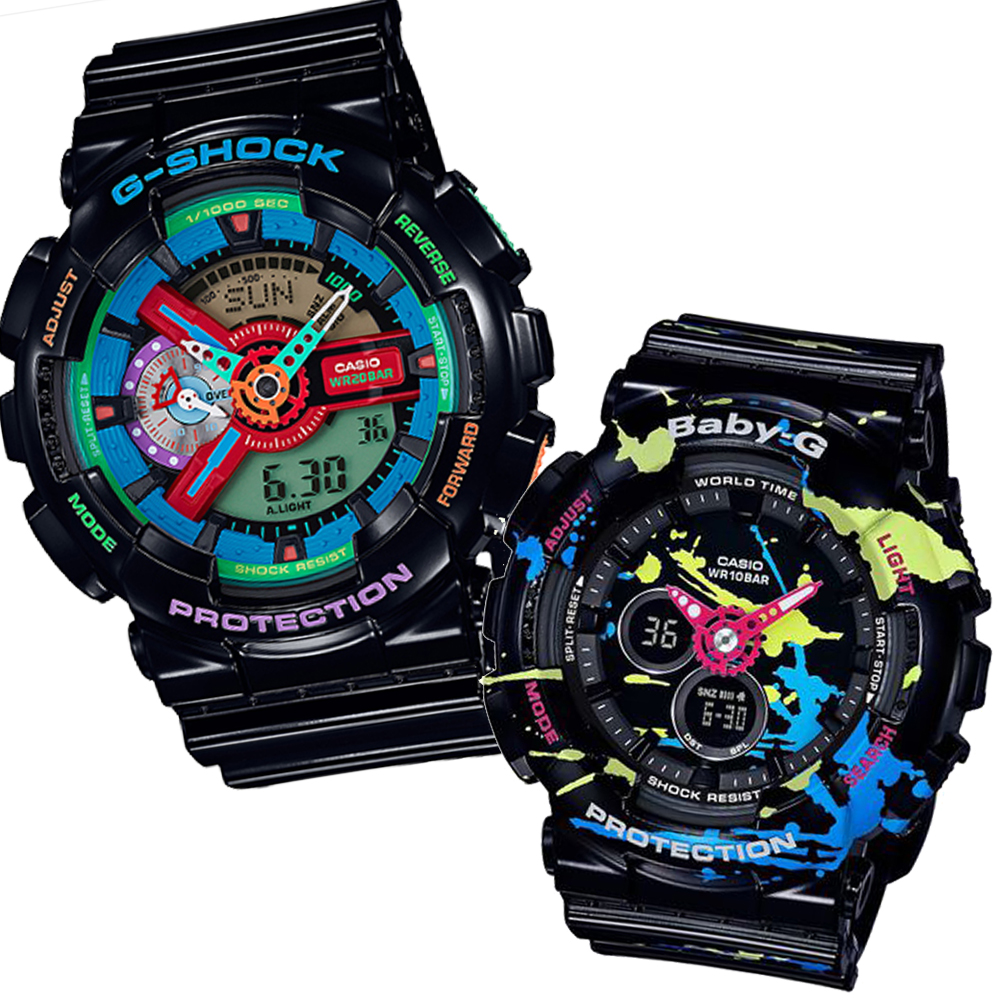 CASIO街頭文化搶色藝術風格休閒錶(GA-110MC-1A+BA-120SPL-1A)