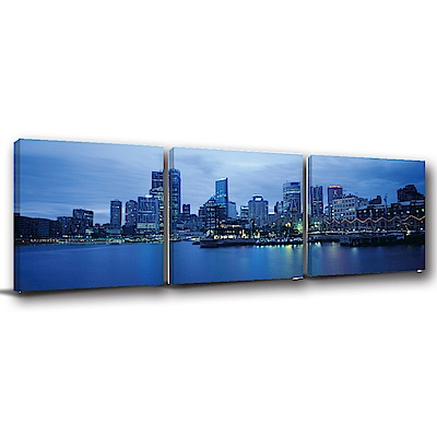 美學365-三聯式方形 掛畫無框畫 夜都市 40x40cm