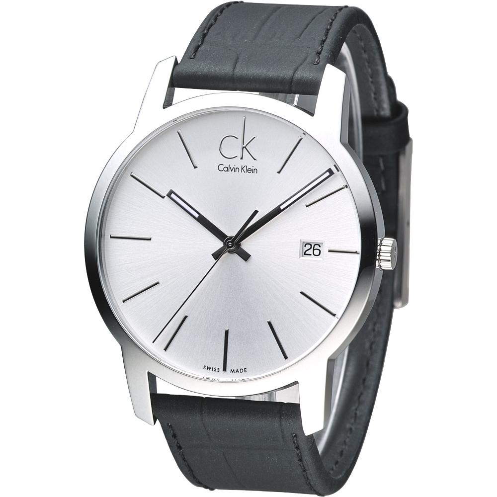 cK City時尚男仕系列都會風腕錶-銀白43mm