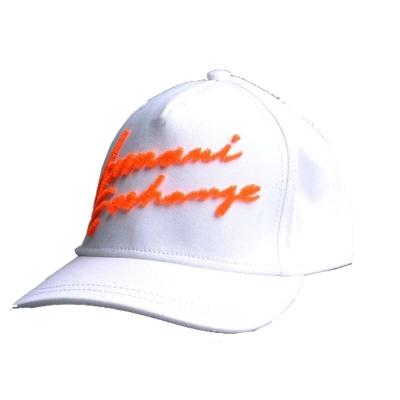 Armani Exchange A/X 立體刷毛書寫棒球帽-白