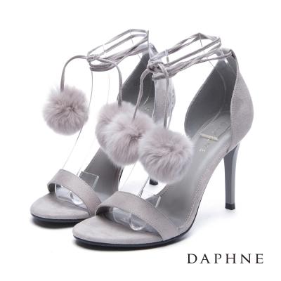 達芙妮DAPHNE 涼鞋-毛球綁帶絨布一字高跟涼鞋-灰