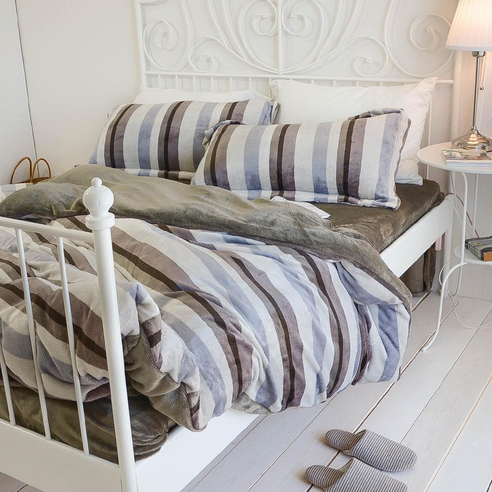 絲薇諾 地平線 加大四件式-法蘭絨 床包被套組