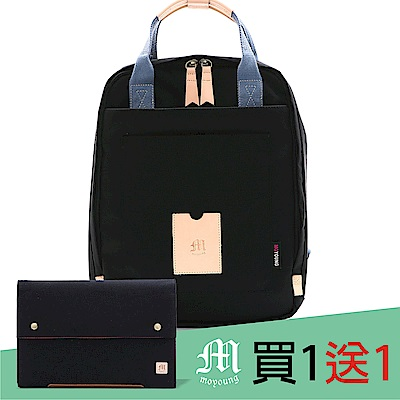 Moyoung 買1送1步漫步城市輕量尼龍機能包 經典黑