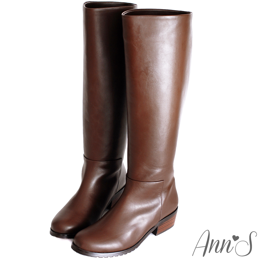 Ann'S細緻質感-直挺細身素面長靴 咖