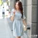 LIYO理優洋裝蕾絲貼邊收腰洋裝(淺藍)