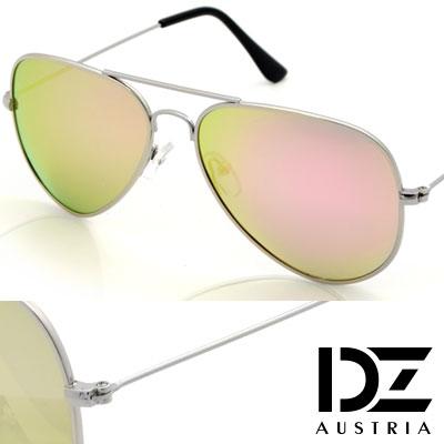 【2件59折】DZ 復古饗宴 抗UV 偏光 太陽眼鏡墨鏡(銀框金綠粉膜)