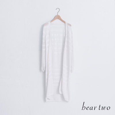 beartwo-透膚感緹織條紋開襟長版針織外套-二色