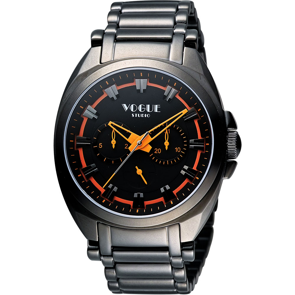 VOGUE 嶄新系列日曆時尚腕錶-IP黑x橘/42mm