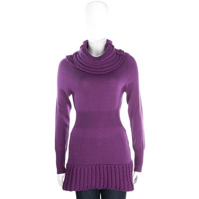 PULLAROUND 紫色拼接織紋高領針織羊毛上衣(100%WOOL)