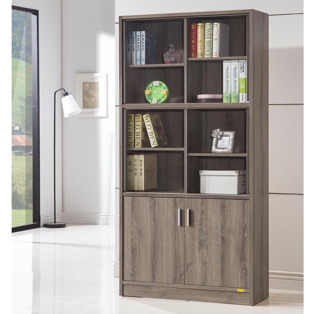 COMDESK十二段玻璃雙門厚板書櫃收納櫃-DIY