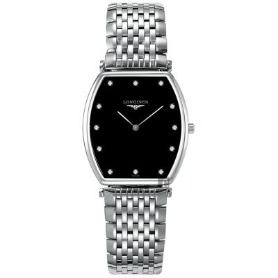 LONGINES浪琴 嘉嵐樽型超薄鑽錶-黑x銀/29mm