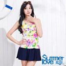 夏之戀SUMMERLOVE 彩色花朵假兩截連身帶裙泳衣