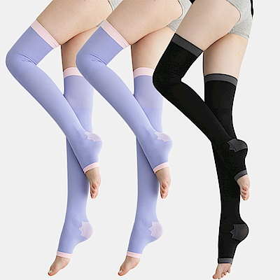足下物語 台灣製 360丹美化曲線睡眠襪 3件組(紫/黑)