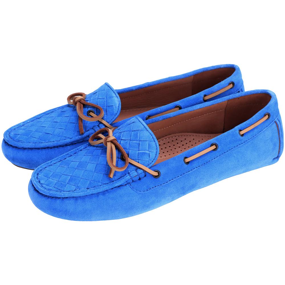 BOTTEGA VENETA 麂皮編織綁帶莫卡辛鞋(藍色)