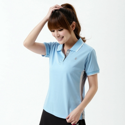 【遊遍天下】MIT台灣製女款吸濕排汗抗UV機能POLO衫S139水藍