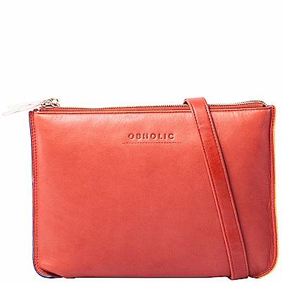 OBHOLIC 橘紅色牛皮手拿包肩背包 雙層