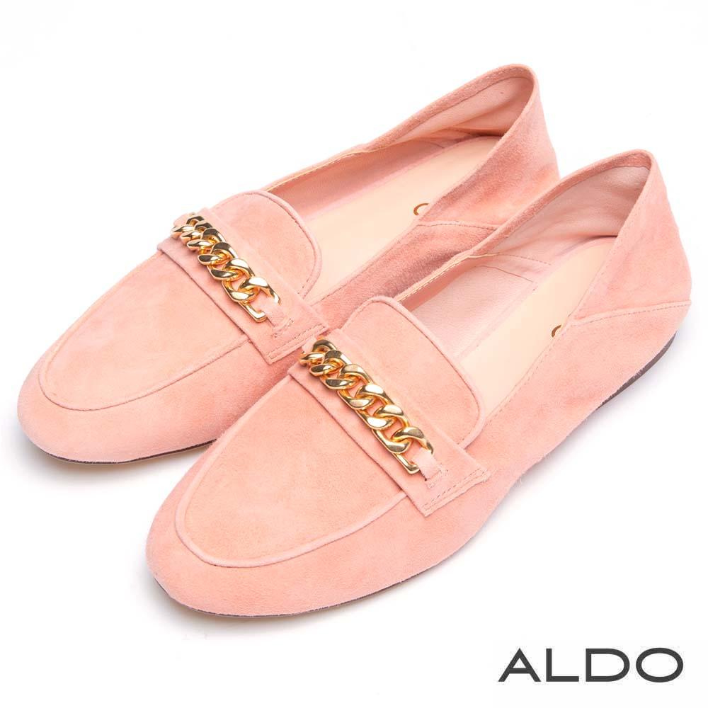 ALDO 原色真皮鞋面金屬鏈帶木紋粗跟樂福鞋~名媛粉色