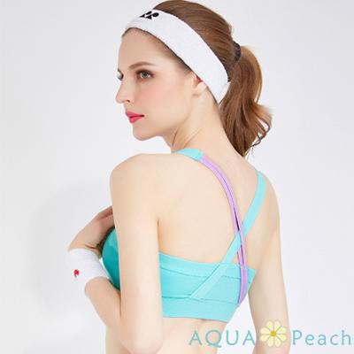 運動內衣 撞色交叉肩帶設計內衣 (共四色)-AQUA Peach