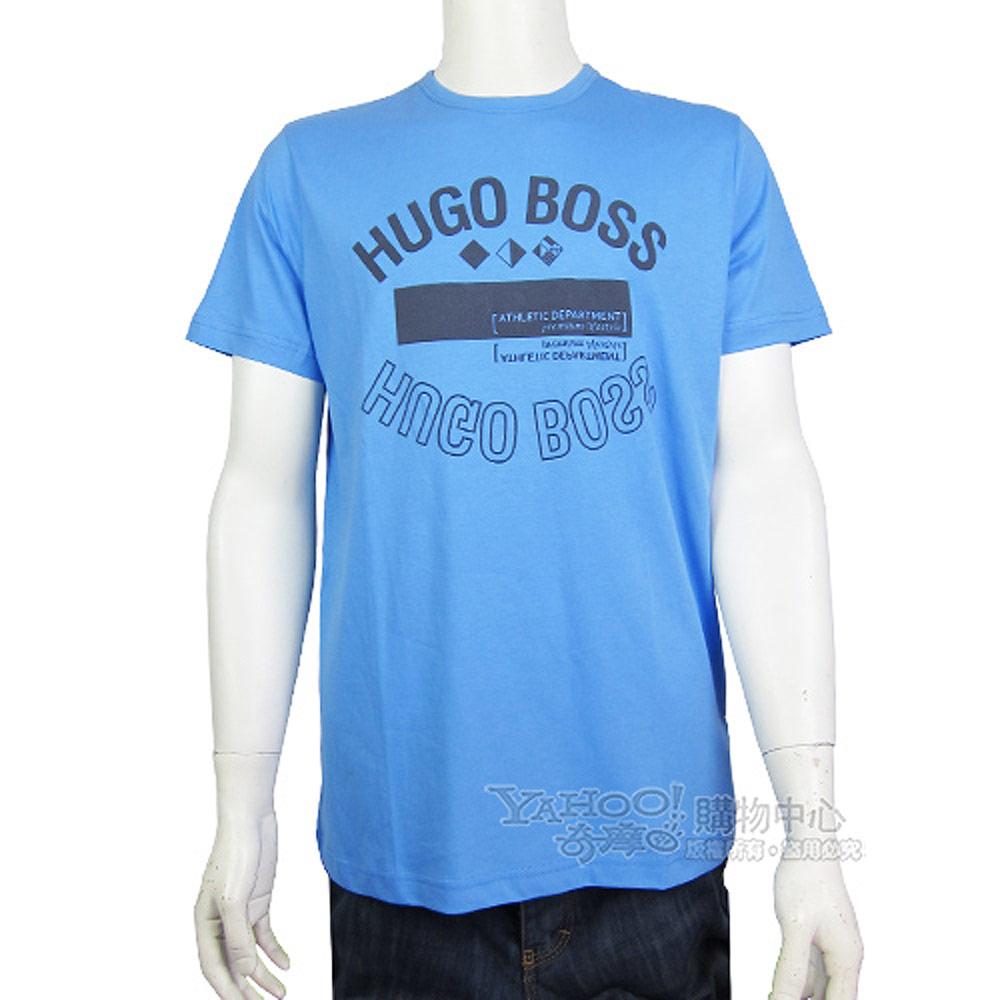 HUGO BOSS 綠標LOGO鏡射圖棉質圓領男T(藍)