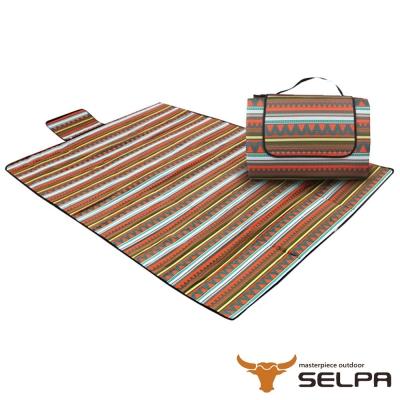 韓國SELPA-防水雙面可用繽紛野餐墊-加大型