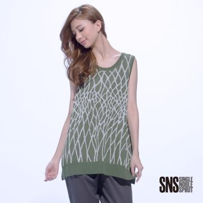 SNS 初春時尚幾何網紋無袖長版針織衫(2色)