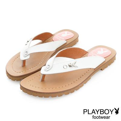 PLAYBOY 花漾假期 沁甜單鑽兔頭夾腳涼拖鞋-白(女)