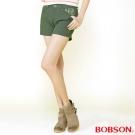BOBSON 女款燙貼圓鋁色布短褲(軍綠211-41)