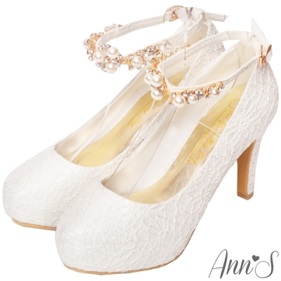 Ann'S花嫁時刻-珍珠鑽練繫帶防水台高跟婚鞋-白