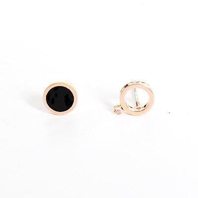 微醺禮物 正韓  925 銀針 鍍K金 圓形 不對稱 一邊黑色一邊鏤空 邊邊小鋯 耳針 耳環