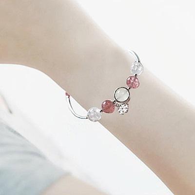 Hera 赫拉 925純銀天然月光草莓晶雪花粉水晶手鍊-2色