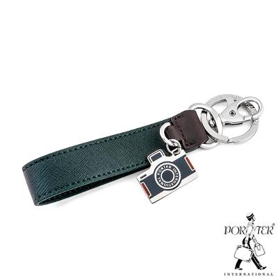 PORTER-相機吊飾真皮鑰匙圈-綠