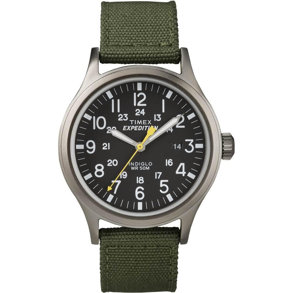 TIMEX Expedition超越巔峰登山探險腕錶-黑面x軍綠錶帶/40mm