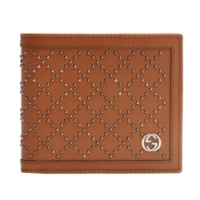 GUCCI 經典GG LOGO鉚釘造型菱格牛皮折疊短夾(褐色)